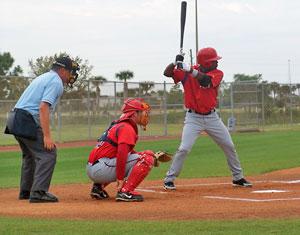 Baseball players on field